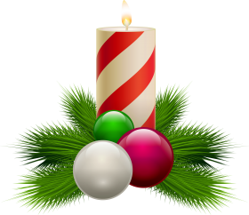 Striped Christmas Candle with Baubles PNG