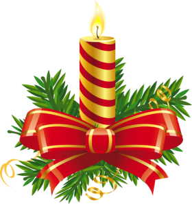 Christmas Candle Striped with Bow PNG