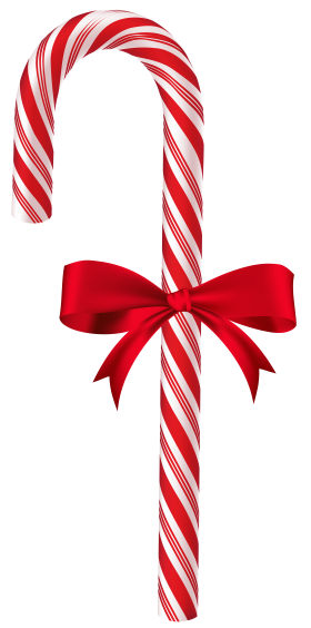 X-mas Sugar Cane with Ribbon PNG