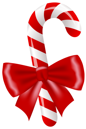Christmas Candy Stick with Bow PNG