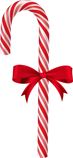 Large Christmas Candy Cane with Bow PNG