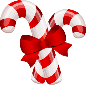 Candy Canes with Bow PNG