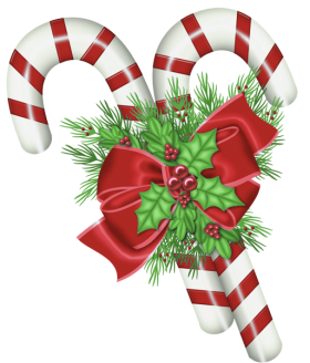 Christmas Sugar Cane with Ribbon PNG