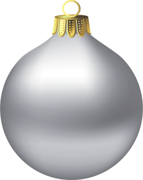 Silver Christmas Bauble PNG