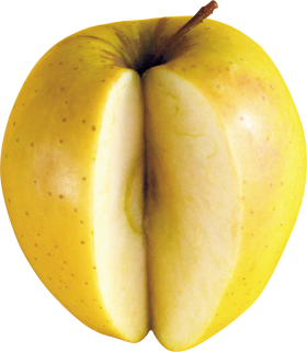 Cut Yellow APple PNG
