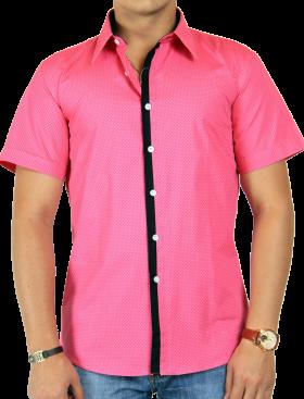 Dot Printed Pink Half Shirt PNG