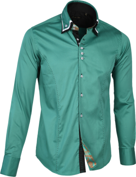Dress Shirt Detachable collar Green PNG