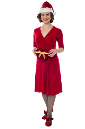 Female Santa Claus with Red Dress PNG