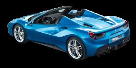 Ferrari 488 Spider Blue Car Back PNG