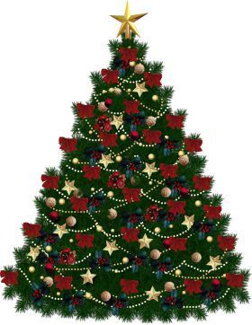 Traditional X-mas Tree with Stars PNG