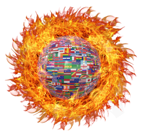 Globe with World Flags on Fire PNG