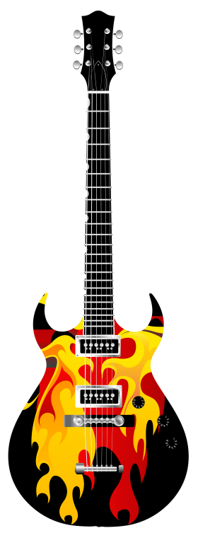 Flame Electric Guitar PNG