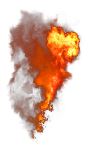 Burning Flame with Smoke PNG