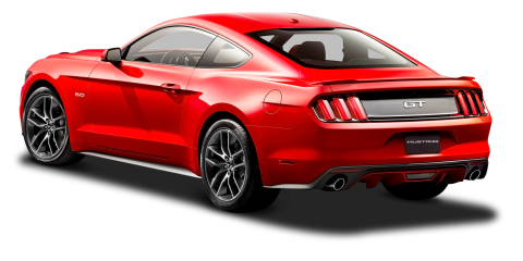 Ford Mustang Red Car Back Side PNG