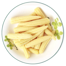Fresh Baby Corns Served in a White Plate PNG