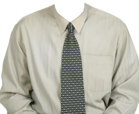 Full Length Dress Shirt  With Tie PNG