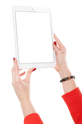 Girl Hand Holding White Tablet PNG