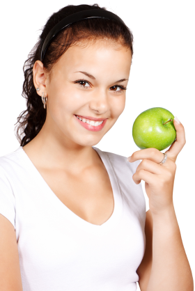 Girl Holding Apple PNG
