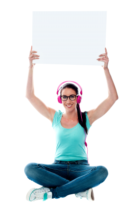 Girl Holding Banner PNG