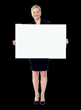 Girl Holding Banner PNG