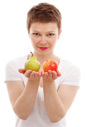 Girl Holding tow Apples PNG