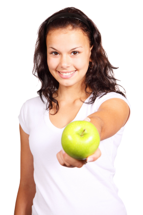 Girl with Green Apple PNG