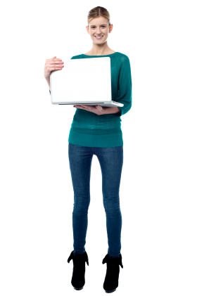 Girl With Laptop PNG