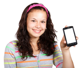 Girl With Mobile Phone PNG