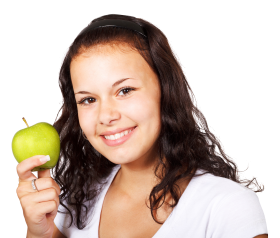 Girl with Red Apple PNG