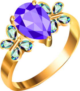 Gold Ring With Blue And Purple Diamonds PNG