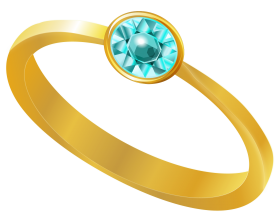 Gold Ring With Blue Diamond PNG