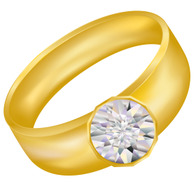 Gold Ring With Diamond PNG