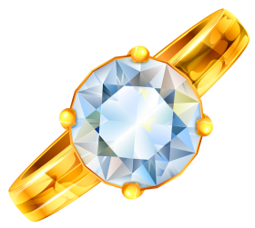Gold Ring With Diamonds PNG
