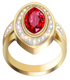 Gold Ring With Red Diamonds PNG