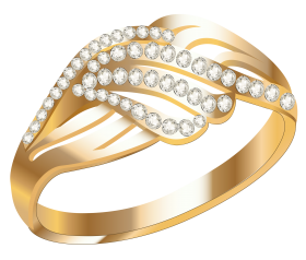 Gold Ring With White Diamond PNG