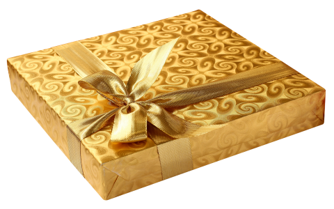 Golden Present with Bow PNG