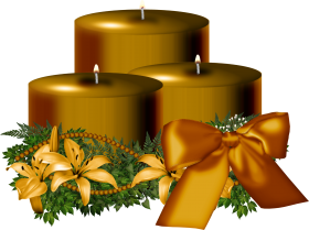 Tree Golden Christmas Candle Decorated PNG