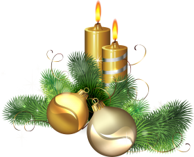 Golden Christmas Candle with Mistletoe PNG