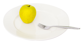 Green Apple in Plate PNG