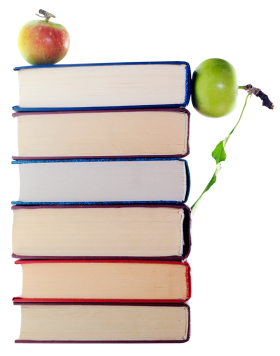 Green  Apples in Stack of Books PNG