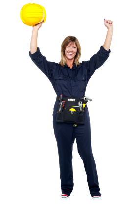 Happy and Equipped worker PNG