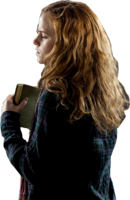 Hermione Worried with Book from Behind PNG