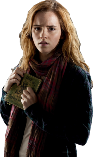 Hermione Worried with Book PNG