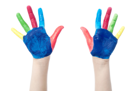 Little Girl Hands Paint PNG