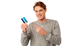 Man Holding Credit Card PNG