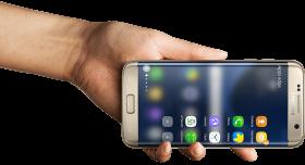 Man holding Samsung Phone PNG
