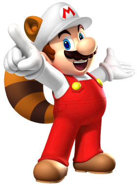 Mario Fire Raccoon PNG