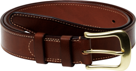 Men Formal  Genuine Leather Belt With Gold Buckles PNG