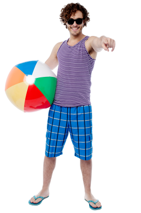 Men With Beach Ball PNG