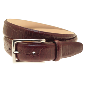 Men's Croc Embossed Leather Belt PNG